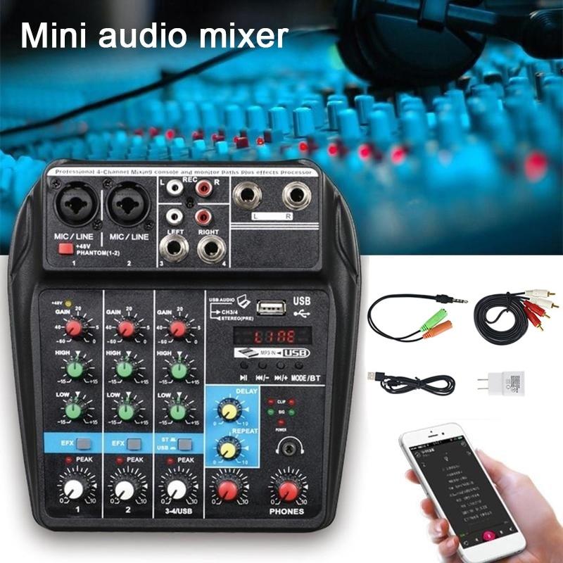 Mini amplificateur de mixage Audio USB carte Bluetooth 48 V alimentation fantôme 4 canaux pour DJ karaoké DX88