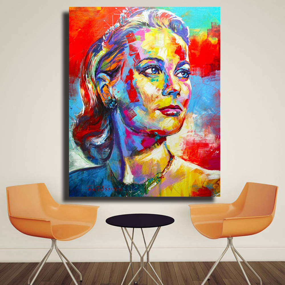 Embelish 1 Pieces Grace Kelly Portrait Canvas Oil Paintings For Living Room Home Decor Pictures Wall Art Posters Bedroom Artwork