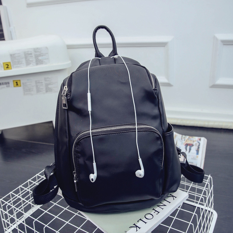 ФОТО Popular 2017 Headphone jack solid color fashion large capacity   lady college type  backpack bag black soft bags