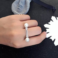 Top Quality Fashion Copper Cubic Zirconia Double Pearls Rope Knot Ring For Women