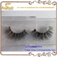 Free Shipping 1pcs Lot Handmade Real Mink Fur False Eyelash 3D Strip Mink Lashes Thick Fake