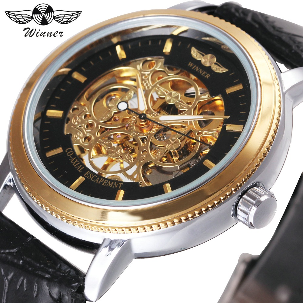 WINNER Top Brand Luxury Men Mechanical Watch Leather Strap Golden Skeleton Dial 3D 4 Ring Icon T-WINNER Wristwatch diy square ndfeb magnet silver 30 x 20 x 5mm