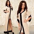 2017 женщины весна лето dress лоскутная мини v шеи высокая талия половина рукава весна мода пят leng long dress