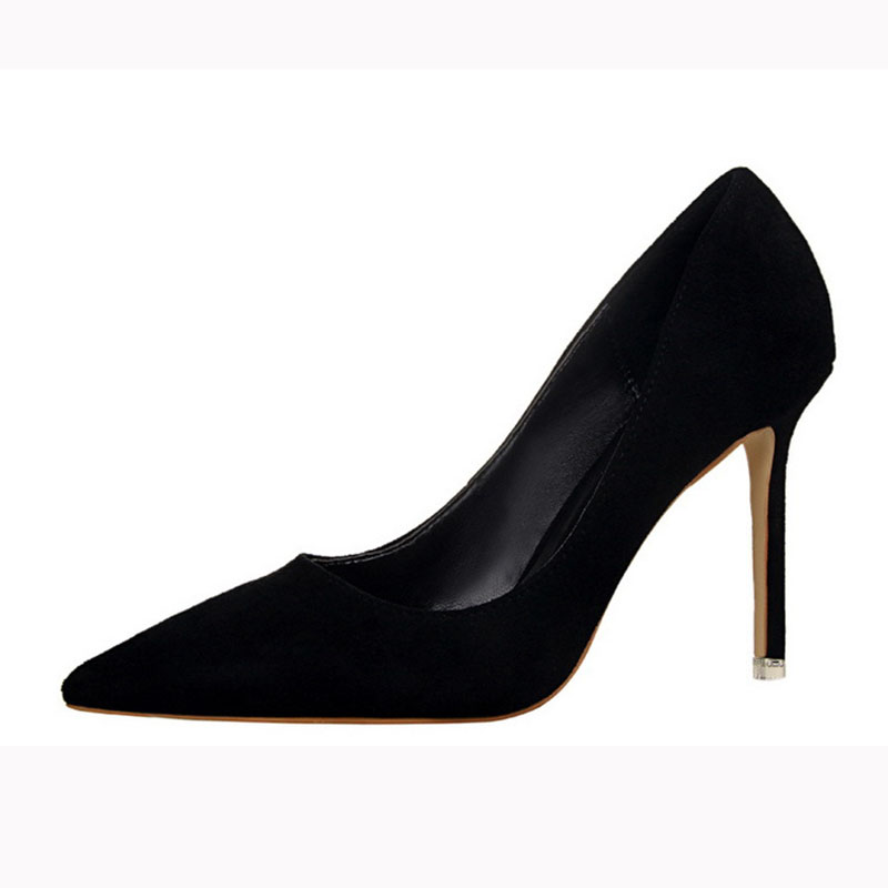 9CM Pumps Fashion Simple Stiletto With High-heeled Shallow Mouth Pointed Suede Sexy Slimming Professional OL Women's Shoes