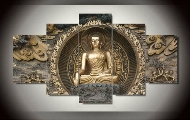 5 Panel Unframed Large Printed Buddha Statues Oil Painting India Picture Decoracion Modern Canvas Wall Art