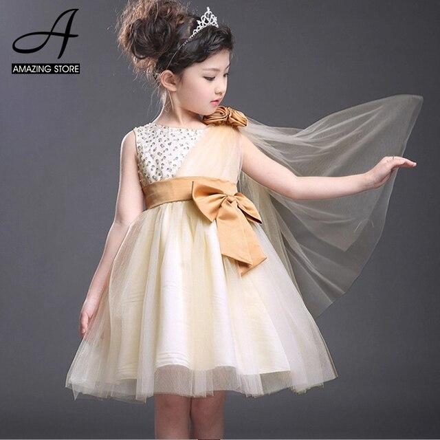 Корея стиль Розовое шампанское свадебные платья платья наклонная сетки через плечо девушки цветка платья бусы свадебные платья нины princesa