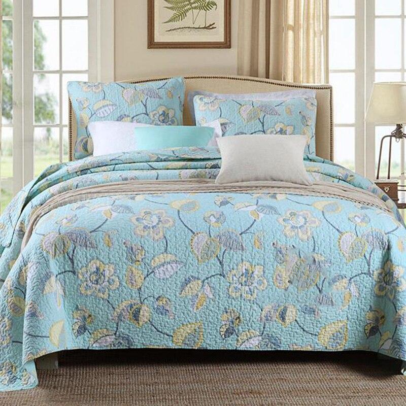 100 Cotton Quilted FarmhouseRetroLuxury Style Quilt Set