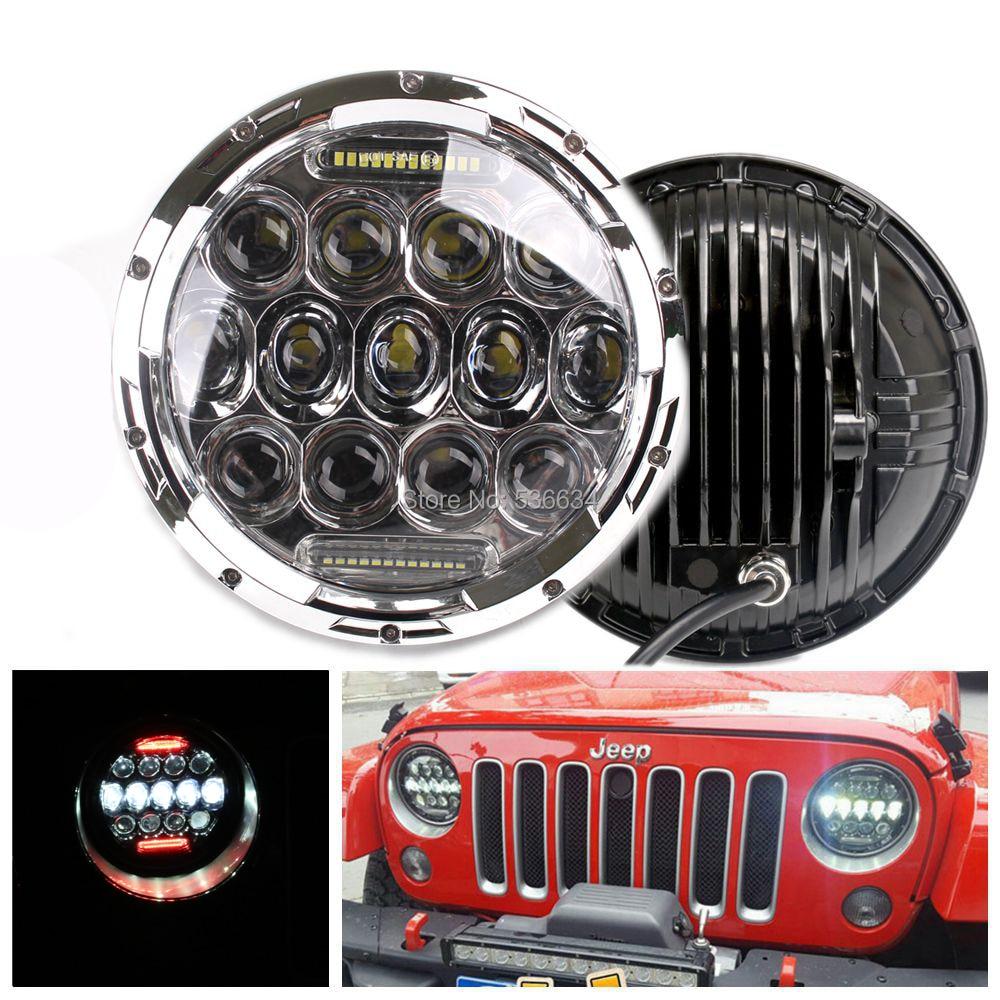1 пара 7 дюймов круглый светодиодный фары проектор Daymaker Привет/низкая Луч H4 авто Красный DRL для джип Вранглер неограниченное JKU 4 двери