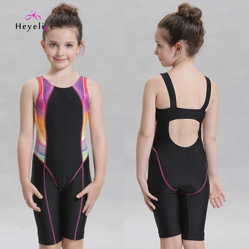 Новый купальный костюм для девочек Профессиональный Спортивный Купальный костюм детский купальный костюм Цельный купальный костюм для детей, бассейн тренировочный купальный костюм