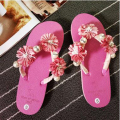 2017 love cute sandal women fashion thong slippers flats flower pearl sandal jelly casual beads flip flops ladies beach shoes