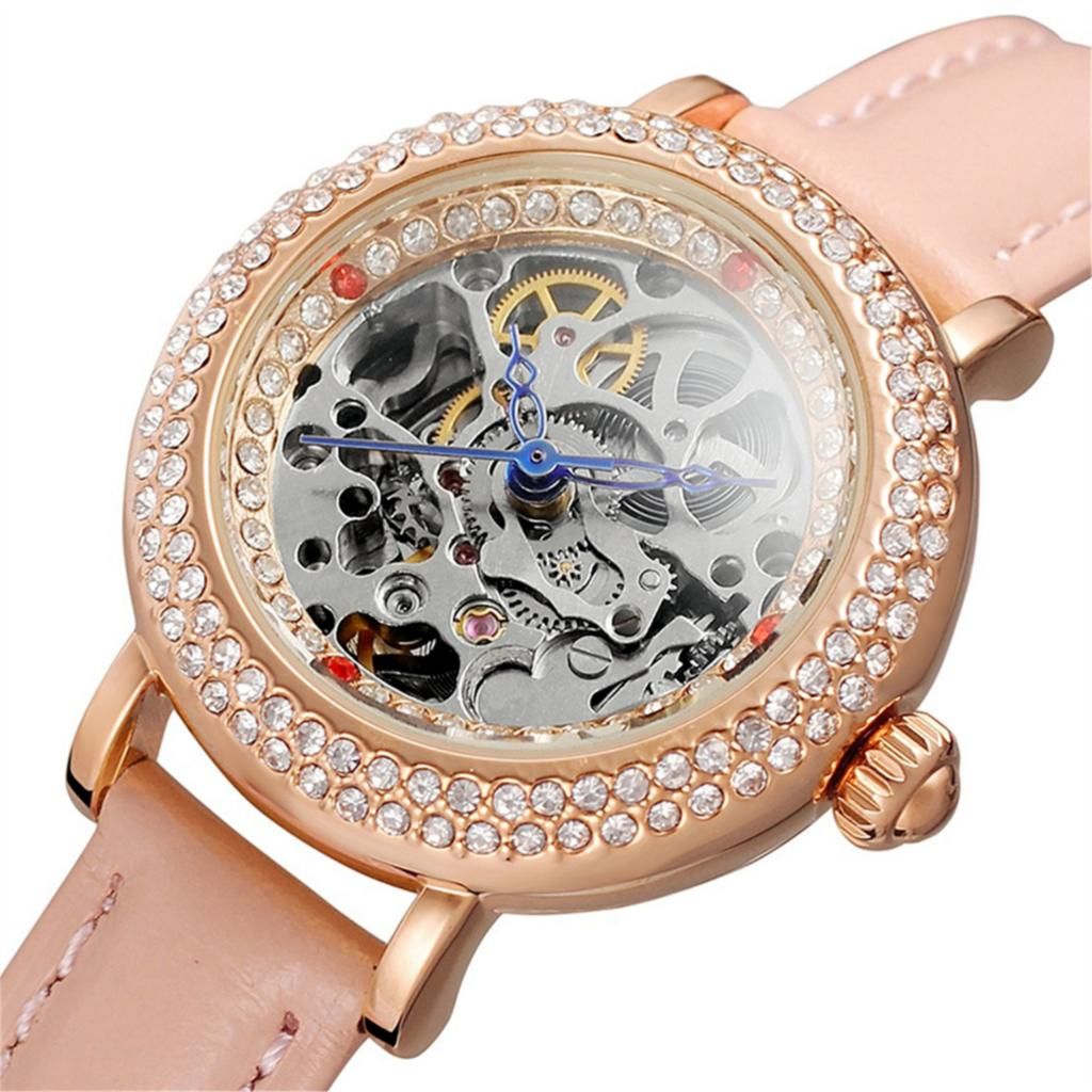 Forsining Women Watches Clock Female Top Brand Luxury Gold Clocks Leather Strap Wrist Automatic Mechanical Skeleton Ladies Watch forsining top luxury brand watch men mechanical automatic army military skeleton male wrist watches steel strap fashion clock