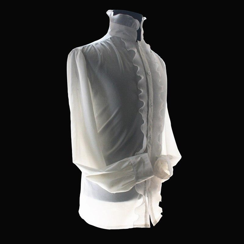 MJ Michael Jackson el fantasma blanco reión popelín clásico rayón blanco real Inglaterra Retro camisa esqueletos para los fans Show - 2