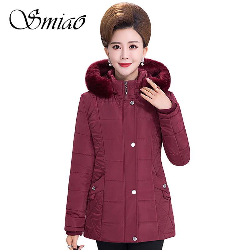 Smiao 2018 Middle-aged Women Winter Coat Female Thick Warm Cotton-padded Plus Size Fur Collar Winter Jacket Women Parka Outwear 2017 winter jacket women fashion coat fur collar cotton padded hooded thick warm outwear parka slim female down six colors m 3xl