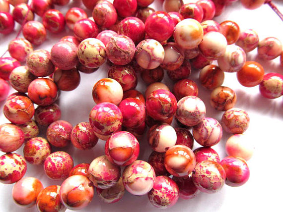 wholesale 10mm 5strands 16inch, round ball fuchsia red snakeskin multicolor mixed sea sediment veins imperial jasper jewelry bea