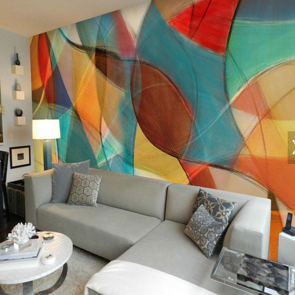 Background Colorful Room: 3D Abstract Wallpaper Leaves Colorful Mural For Living
