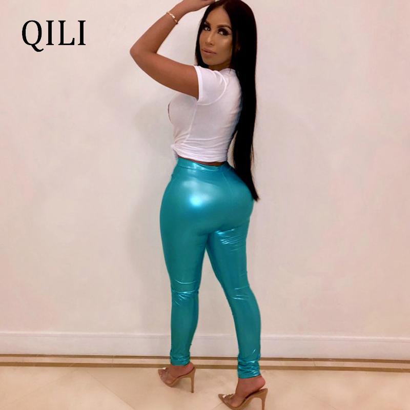 QILI Women Bronzing Pencil Pants Trousers Mint Color Elastic Waist Mid Waist Skinny Long Pants Fashion Casual Women Pants Bottom in Pants amp Capris from Women 39 s Clothing