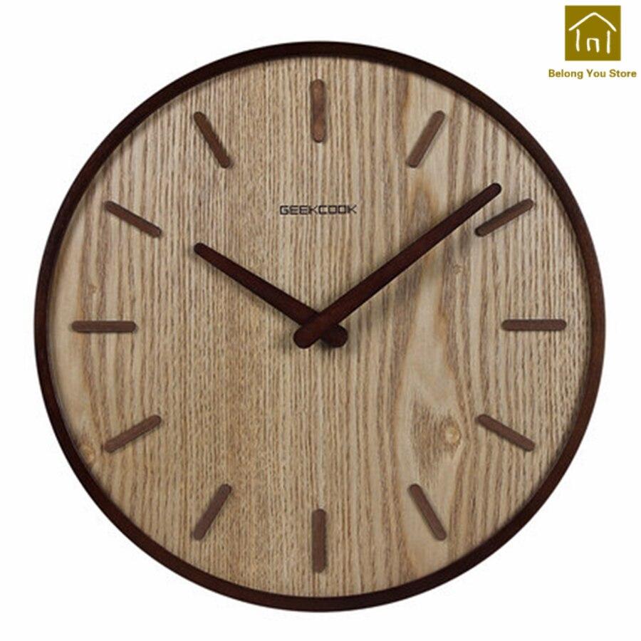 Mécanisme créatif Horloge rétro décor Mural en bois salon Vintage Antique numérique Horloge murale Horloge Quartz SKP005