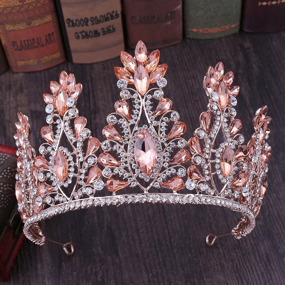 Baroque Rose Gold Pink Crystal Bridal Tiaras Crown Big Rhinestone Diadem Veil Tiara Bride Headbands Wedding Hair Accessories