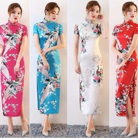 Chinese Wedding Dress Short Sleeve Long Qipao Cheongsam Traditional Chinese Clothing For Women Stage Performance Wear DNV11139