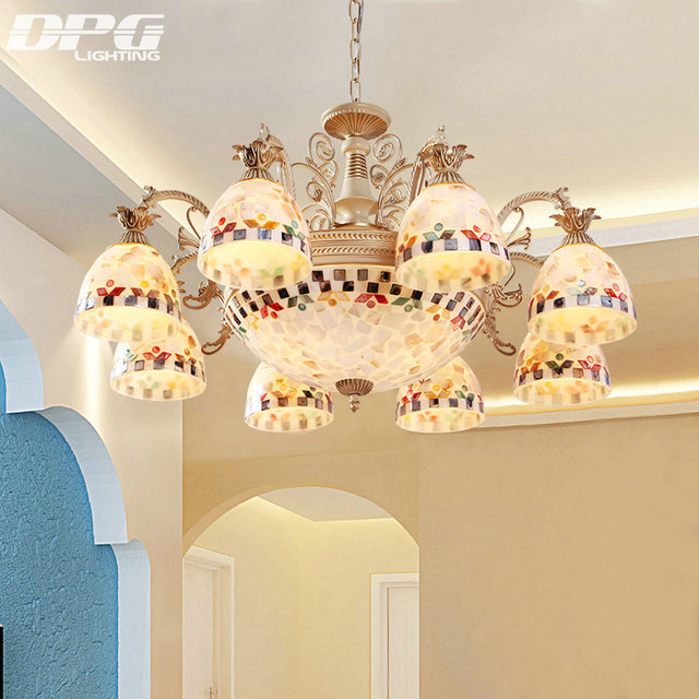 Gold Chandeliers Tiffany Style Antique Lamp Sconce Light Conch Glass For Bedroom Living Room Ceiling