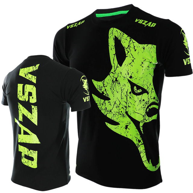VSZAP Boxing Fitness Sport Muay Thai Boxing Jerseys Fight MMA T-Shirt Gym Shirts Short-sleeved Black Kickboxing Mma Boxing Tees