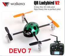 Asli Walkera QR Ladybird V2 dengan DEVO 7 Transmitter 3D 3-axis-Gyro 2.4 GHz RC Quadcopter Drone Helicopter RTF