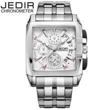 2017 moda masculina cuadrados jedir día cronómetro del cronógrafo relojes masculinos reloj de cuarzo caja de regalo reloj montre homme envío gratis