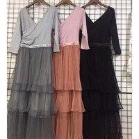 2018 dress vintage draped long tutu dresses backless v neck cake sleeve spring for women clothes female sexy elegant plus size