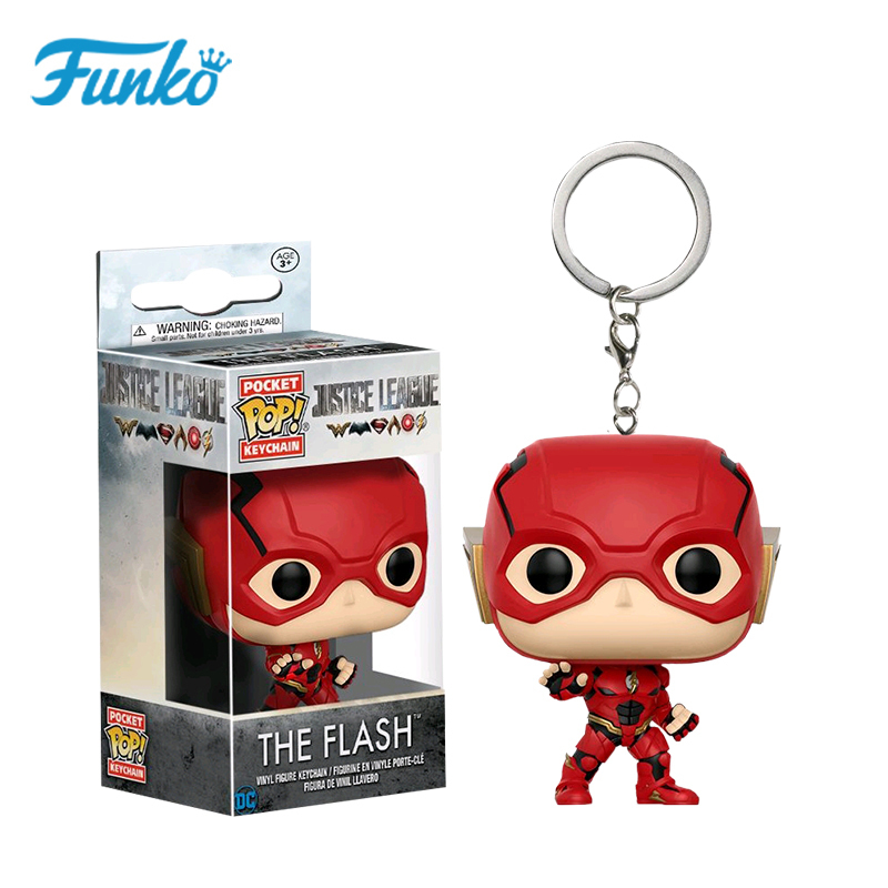 Pop Pocket Pop Keychain Original DC Comics Justice League The Flash Collectible Action Figure Toys For Children Christmas Gift image
