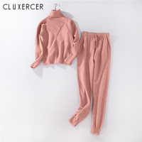 Autumn Casual Knitted Pink Women Two Piece Outfit Set 2018 New Winter Turtleneck Sweater And Pants Female Set Tracksuit Ladies