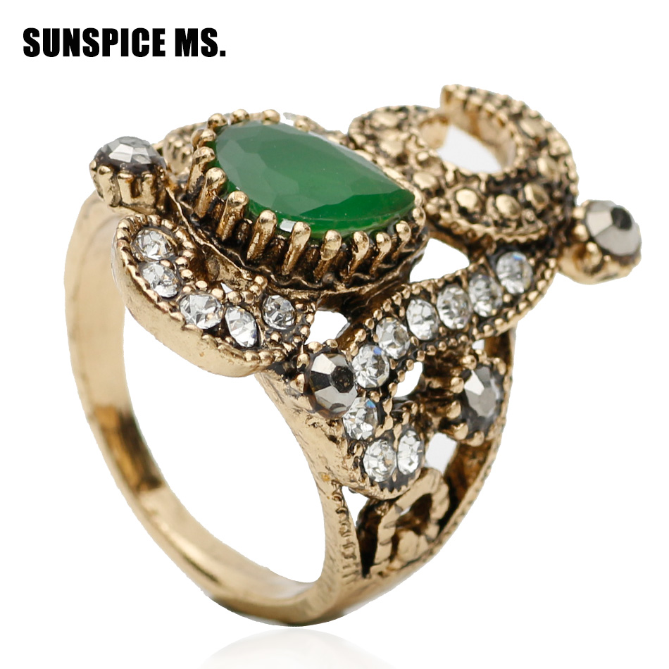 Exquisite Women Flower Ring Antique Gold Color Resin Jewelry Indian Wedding Arab Vintage Bijoux Bohemian Bridal Finger Rings