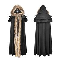 Готический осень зима Длинные шерстяной воротник плащ с капюшоном пальто Для женщин Винтаж черный/красный длинный плащ Накидки теплая курт