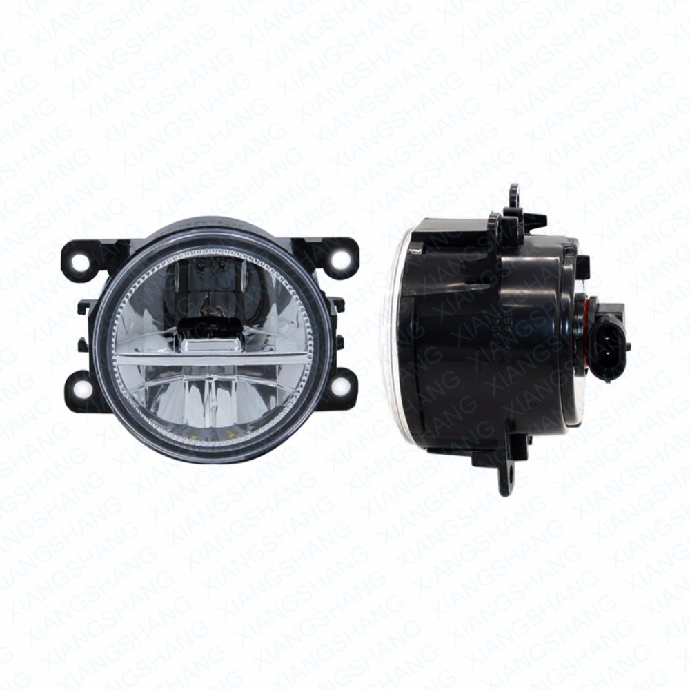 ФОТО 2pcs Car Styling Round Front Bumper LED Fog Lights DRL Daytime Running Driving fog lamps  For Nissan INTERSTAR Platform Chassis