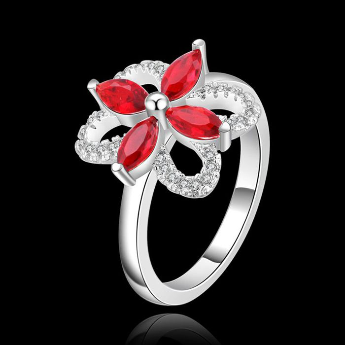 Ring 925-sterling-silver Ring Silver Special Design Trendy Ring Red Crystal Womens Jewelry Wholesale Free Shipping shfe LR429-8
