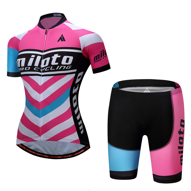 MILOTO Womens short sleeve cycling jersey Roupa Ciclismo/Breathable Bicycle Cycling Clothing/Quick-Dry Racing mtb Bike Jersey