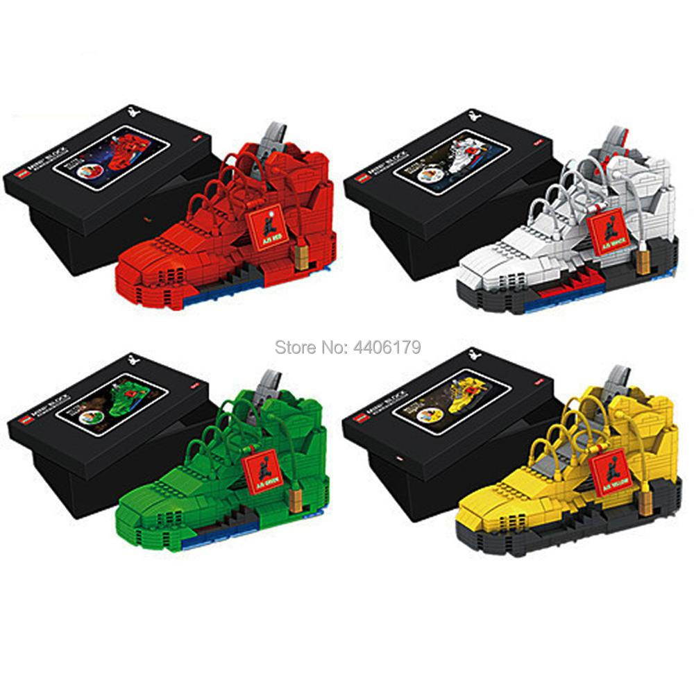 hot LegoINGlys creators Popular Sports Basketball Shoes AJ1 mini stack Pen container lock air jordan Building Blocks toys gift