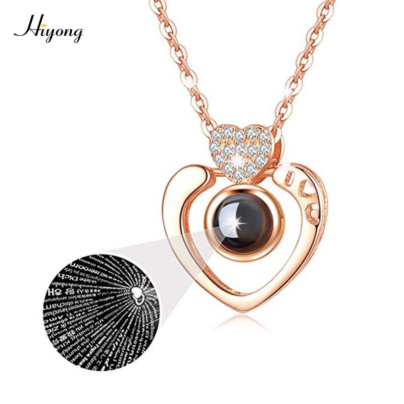 Super Romantische Halskette ICH Liebe Sie 100 Sprachen Projektion, Herz Geformt Halskette für Ihn für Ihre Pendent Speicher Halsketten