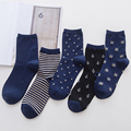 Men's color stripes star socks the latest design popular men's socks 5 PAIRS STRIPED SOCKS SUIT FASHION DESIGNER