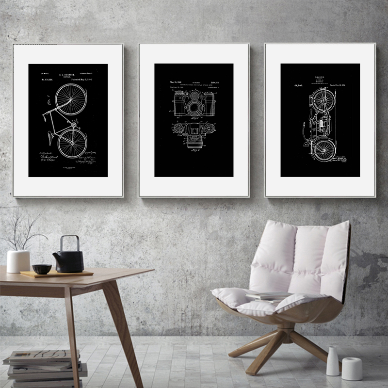 Us 3 19 40 Off Industrial Style Black White Wall Art Canvas Painting Guitar Motorbike Nordic Posters And Prints Wall Pictures For Living Room In