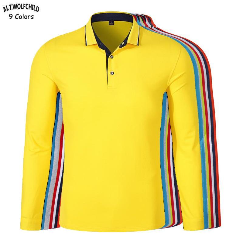 Fashion 2019 New Men's long sleeve   polos   shirts XS-3XL casual mens cotton lapel   polos   shirts solid color mens slim tops 9 colors