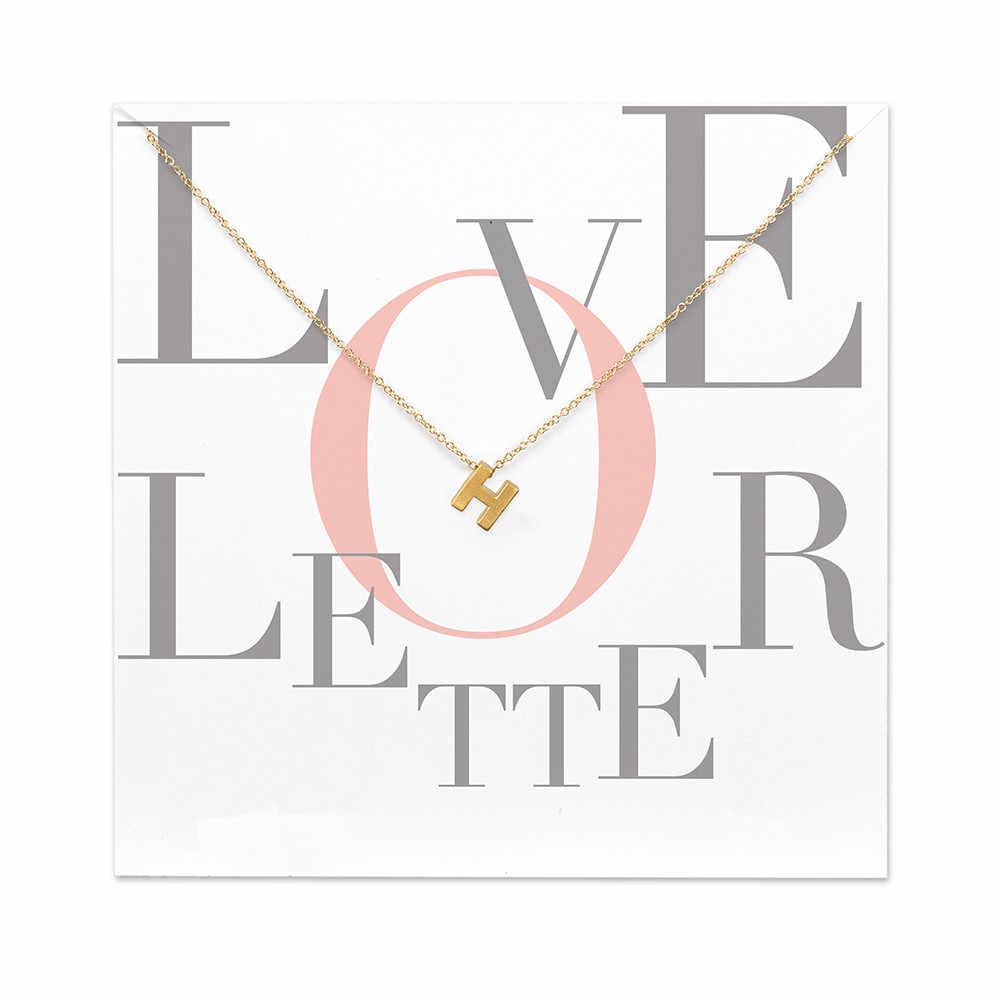 יש כרטיס תכשיטים 26 מילת האלפבית אהבת מכתב ב ג ד ה ו ז ח ט י M N Z תליון שרשרת לנשים