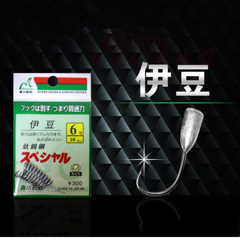 Japan Overturned Hook Titanium Tungsten Barbed Fishhook Tin Jig Head Stand Hooks