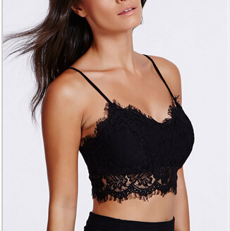 892b56a3aa Sexy Lace Eyelash Bralet Crop Top Casual Brandy Melville Floral Bralette  Unpadded Camisoles-in Camisoles   Tanks from Underwear   Sleepwears on ...