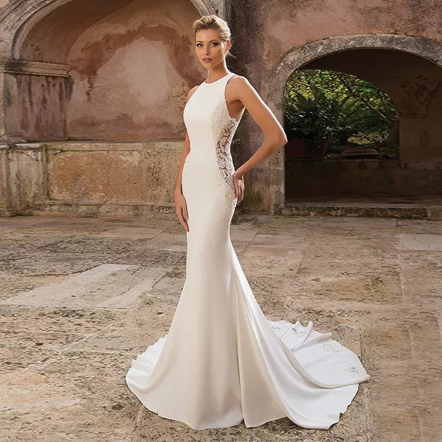 Crepe Fit And Flare Dress With Illusion Lace Side Cutouts Sleeveless O-neck Mermaid Wedding Dress Button Down Satin Bridal Gowns