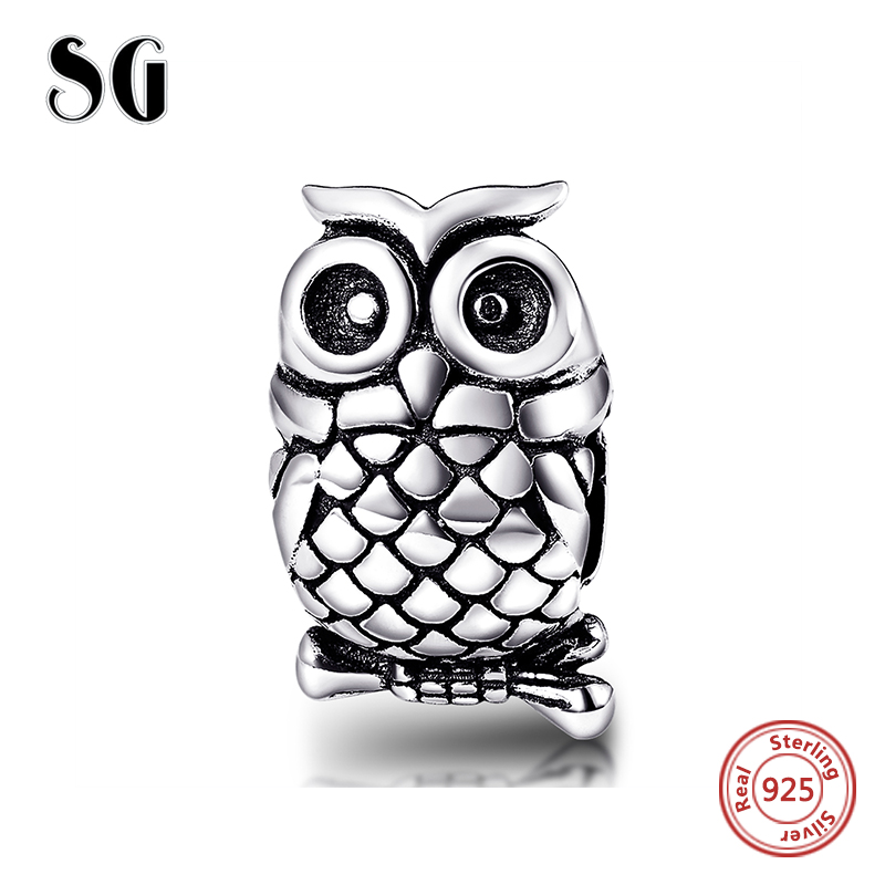 Hot sale Fit Authentic sterling Silver 925 Bracelet Original pandora beads Bracelet Antique Owl animal charms diy Jewelry Gift