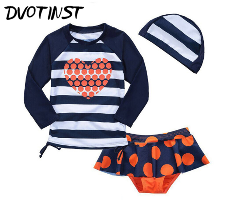 Dvotinst Baby Girls Clothes Summer Swim Suit Tops+Shorts+Hats Swimwear Swimming Spa Pool Bathing Surfing Beach Clothing Costume