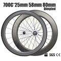 Catazer 700x25C дорожный велосипед передний 58 мм задний 80 мм затемненный клинчер колесная часть полностью Углеродные колеса UD матовая базальтовая...