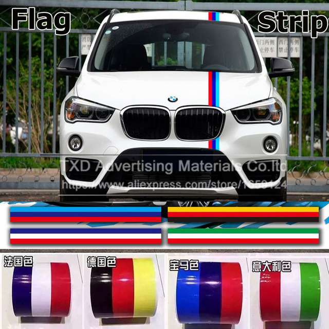 1m2m3m4m5m 4 color 3d car sticker germany italy uk flag stripe car hood vinyl sticker body