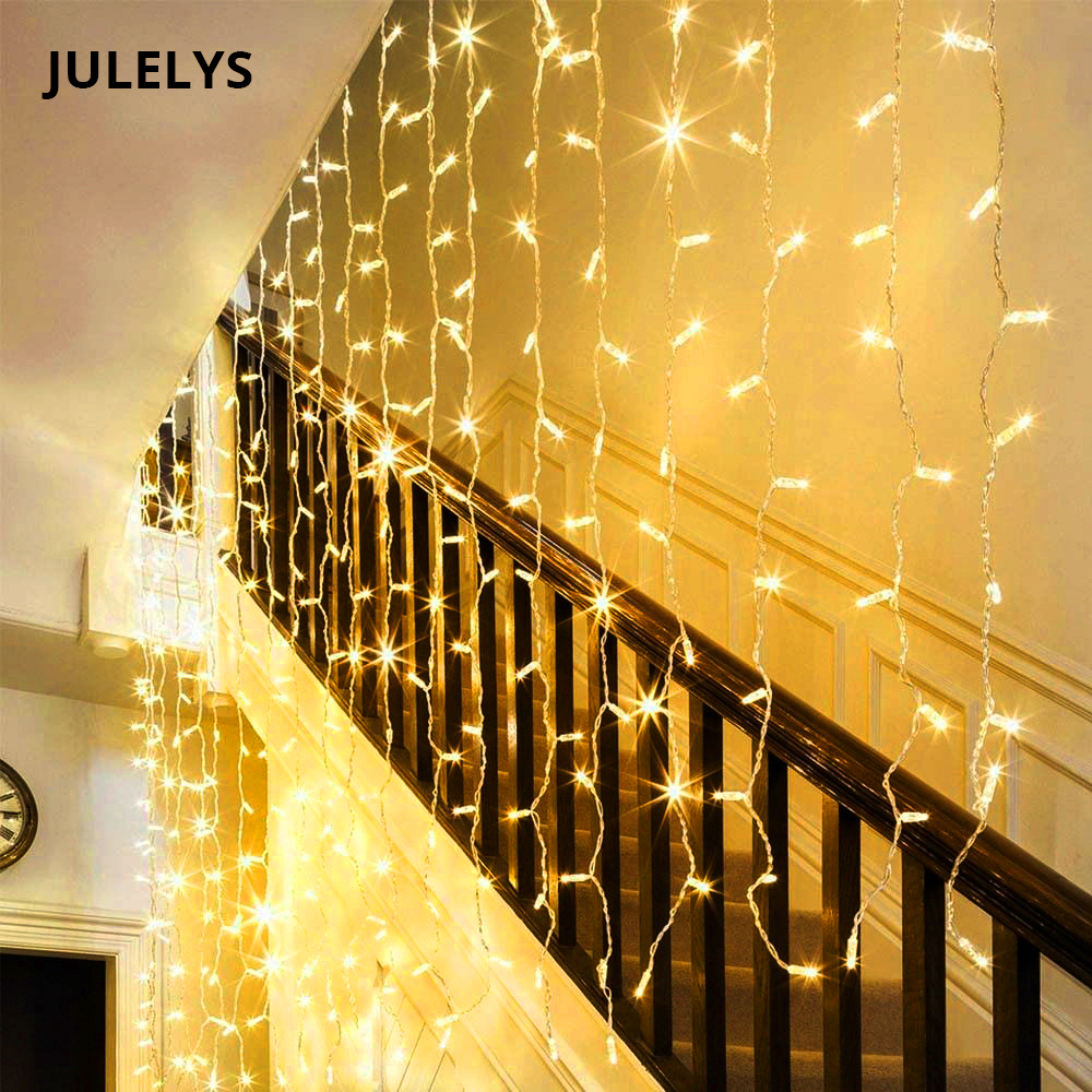 JULELYS 3 * 1.5M 144 Bulbs LED Curtain String Light Christmas Garland Lights Decoration For Wedding Holiday Party Home Decor ...