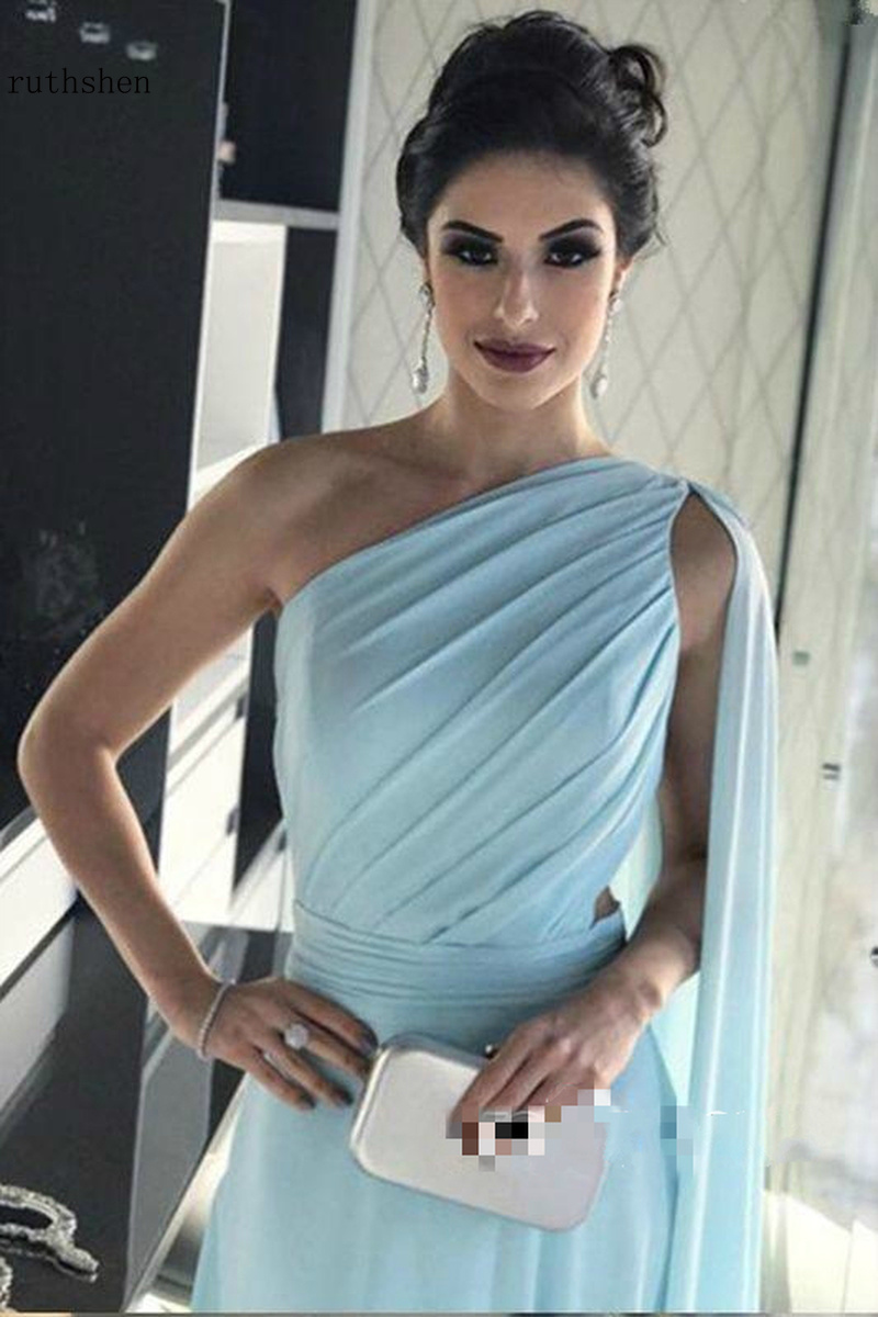 Delle Donne Del Vestito convenzionale Elegante Una Spalla Arabo Backless Watteau Treno Chiffon Una Linea di Pavimento lunghezza Abiti Da Sera Lunghi - 4